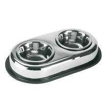 Miska pro psy a kočky dvojitá, nerezová, 2x450 ml