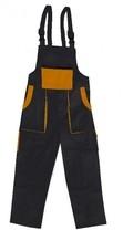 Kalhoty LUX EMIL montérkové s náprsenkou, černo-oranžové, Velikost 54