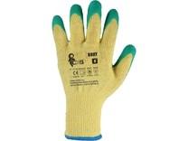 Povrstvené rukavice ROXY, žluto-zelené, vel. 11