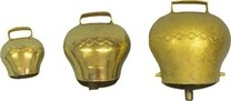Zvonec pastevní plechový 110mm, mosaz.barva