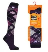 Podkolenky Heat Holders Lite dámské 37-42 Káro fialová
