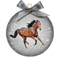 Vánoční ozdoba s koněm stříbrná