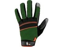 Rukavice CARAZ, kombinované, zeleno-černé, vel. 9